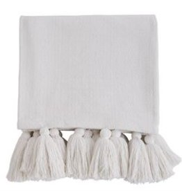 Mud Pie White Tassel Throw Blanket