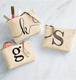 Mud Pie Initial Canvas Cosmetic Bag