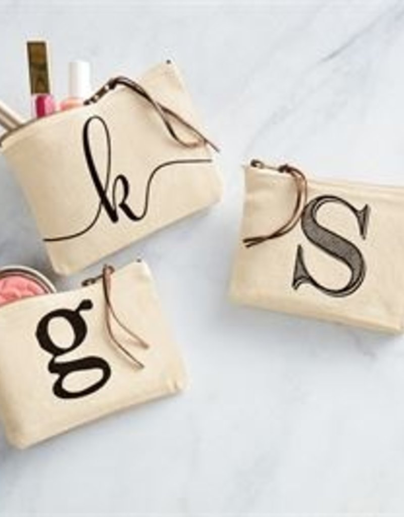 Mud Pie Initial Canvas Cosmetic Bag