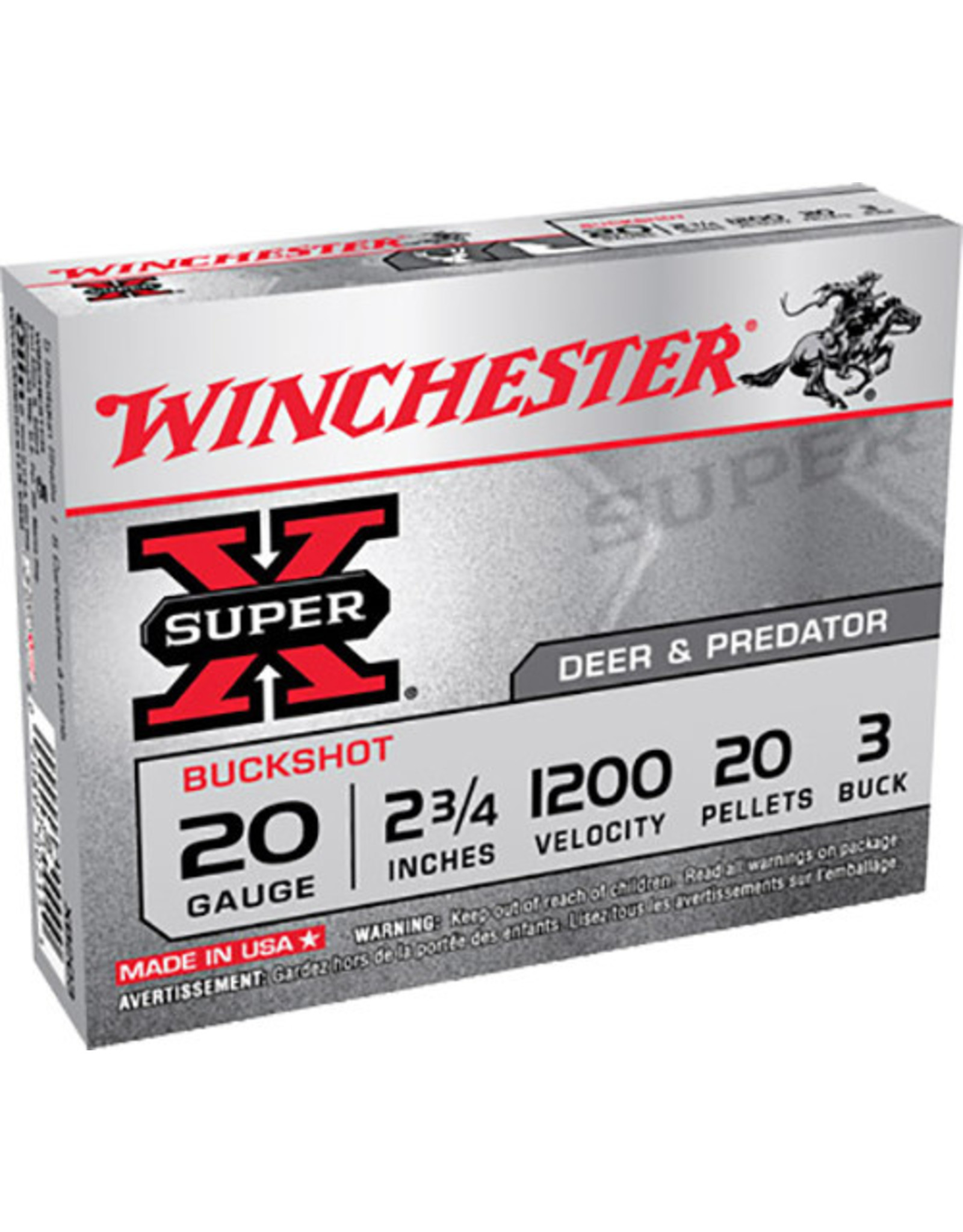 """WINCHESTER AMMO Winchester 20 Ga 2-3/4"""" 20 Pellets #3 Buck 1200 FPS - 5 Count"""