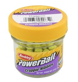 Berkley Berkley PowerBait Biodegradable Crappie Nibbles Chartreuse 0.9oz Jar