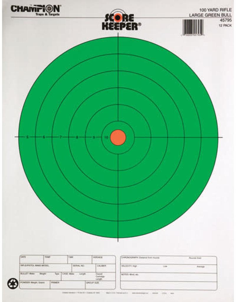 "CHAMPION Champion Scorekeeper 100Yd Rifle Target, 8"" Large Green Bull"