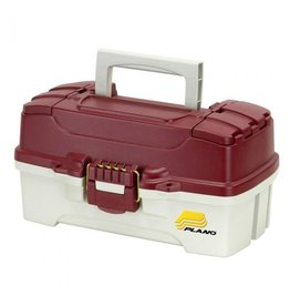Plano w/Dual Top Access Red Met/Off White Plano 620106 1 Tray Tackle Box