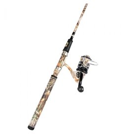 "ProFISHiency 2 pc 6'8"" Spinning Combo, Medium Action Rod, soft padded grips in camo, 5.2:1 gear ratio, 8+1 ball bearings"