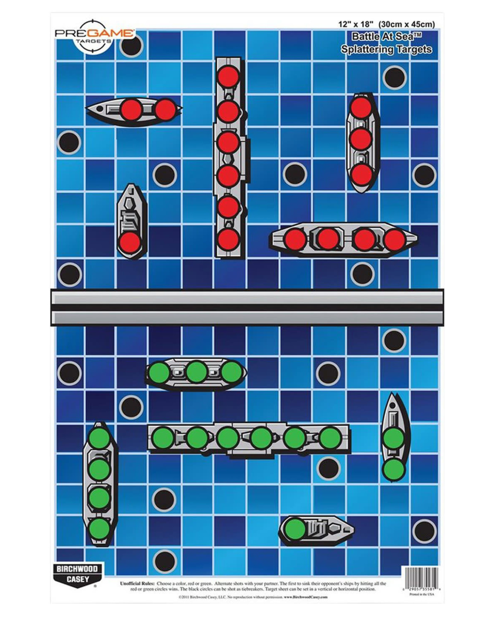 """BIRCHWOOD CASEY BWC Pre Game Battle At Sea Target - 8 Count 12"""" x 18"""""""