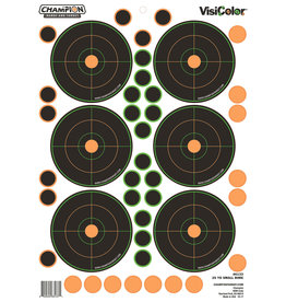 "CHAMPION TARGETS Champion VisiColor Self-Adhesive Paper 8.5"" x 11.5"" Circle Orange/Black 5 Pack"