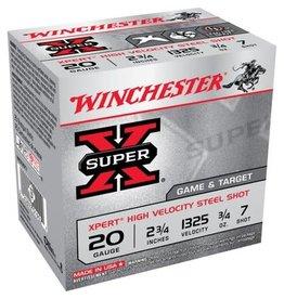 """WINCHESTER AMMO Winchester Super X Steel 20 ga 2-3/4"""" 3/4 Oz #7 - 25 Count"""