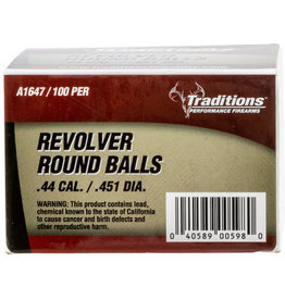 "Traditions Traditions Revolver Round Ball .44 Cal (.451"") 100 Count"