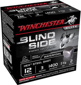 """WINCHESTER AMMO Winchester Blind Side Steel 12 ga 3"""" 1-3/8 Oz #2 1400 FPS - 25 Count"""