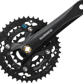 TOURNEY Shimano TY501 6/7/8-Speed 170mm 24/34/42t Square Crankset with Chainguard, Silver/Black