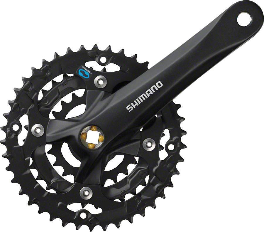 Shimano TOURNEY Shimano TY501 6/7/8-Speed 170mm 24/34/42t Square Crankset with Chainguard, Silver/Black