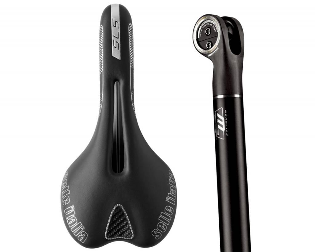 SELLE ITALIA SADDLE SELLE ITALIA MONOLINK SLR FLOW SADDLE COMBO: Carbon 27.2mm 350mm Black