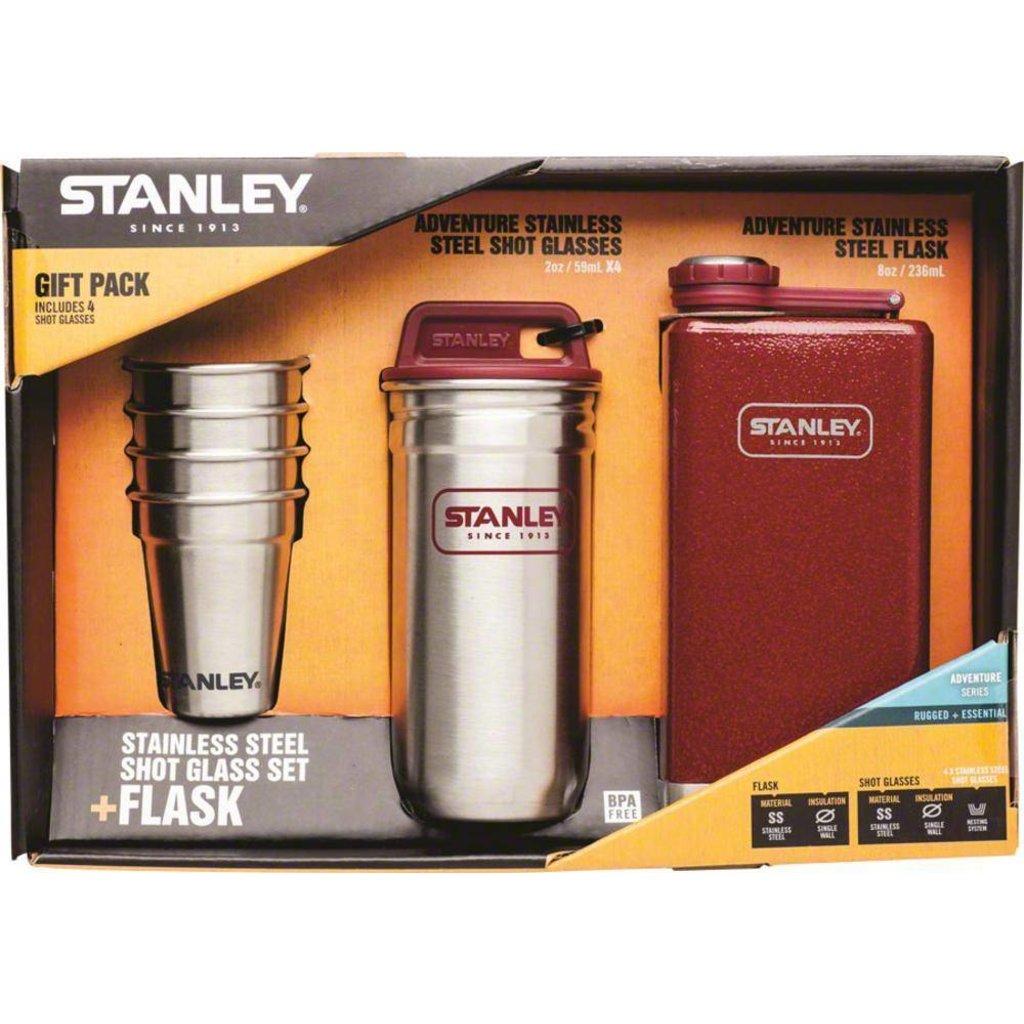 FLASK SET Stanley Adventure Steel Shots and 8oz SS Hammertone Crimson