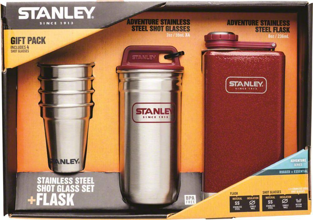FLASK SET Stanley Adventure Steel Shots and 8oz SS Hammertone Crimson