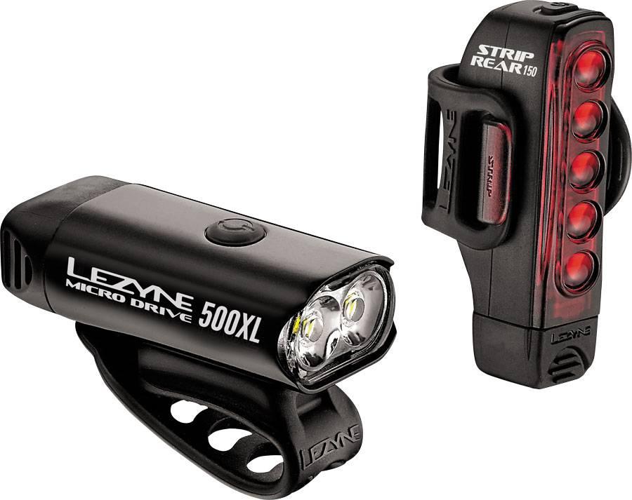 Lezyne Conjunto de luz Lezyne micro Drive 500XL faros y luces trasEras conjunto, negro