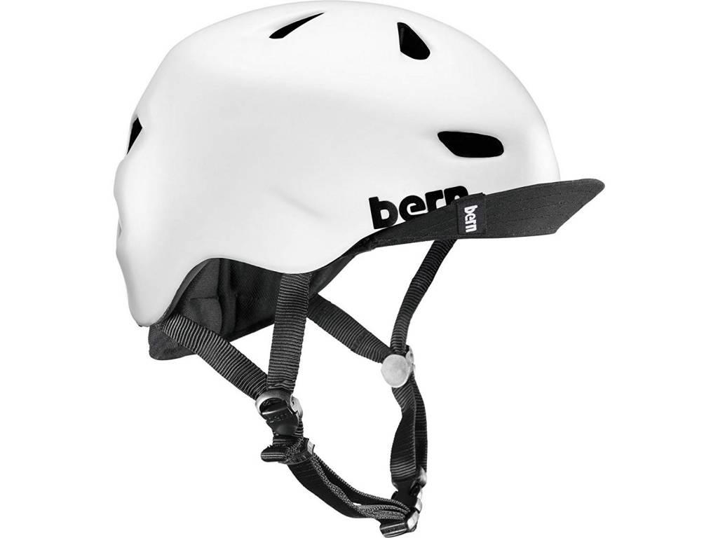 HELMET BERN Brentwood Satin White w/ Flip Visor