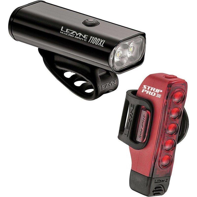 Lezyne LIGHT SET USB LEZYNE Macro Drive 1100XL / Strip Pro 300LM Black