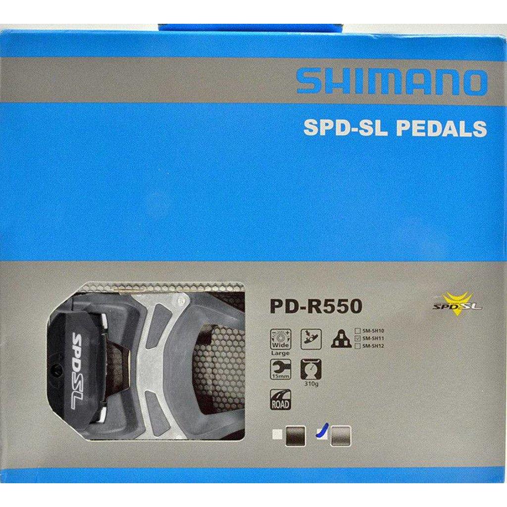 Shimano PEDALS 9/16 SHIMANO PD-R550 SM-SH11 SPD-SL W/O REFLECTOR W/CLEAT GREY