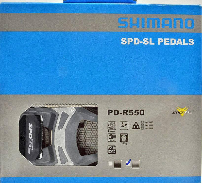 Shimano PEDALES 9/16 SHIMANO PD-R550 SM-SH11 SPD-SL CON REFLECTOR W / CLEAR GRIS