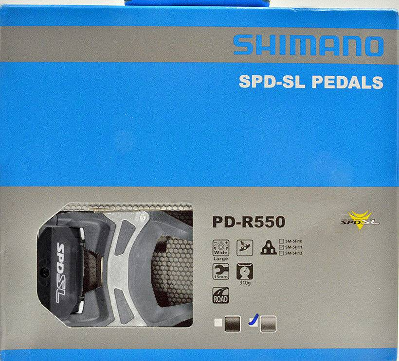 Shimano PEDALS 9/16 SHIMANO PD-R550 SM-SH11 SPD-SL W/O REFLECTOR W/CLEAT GREY