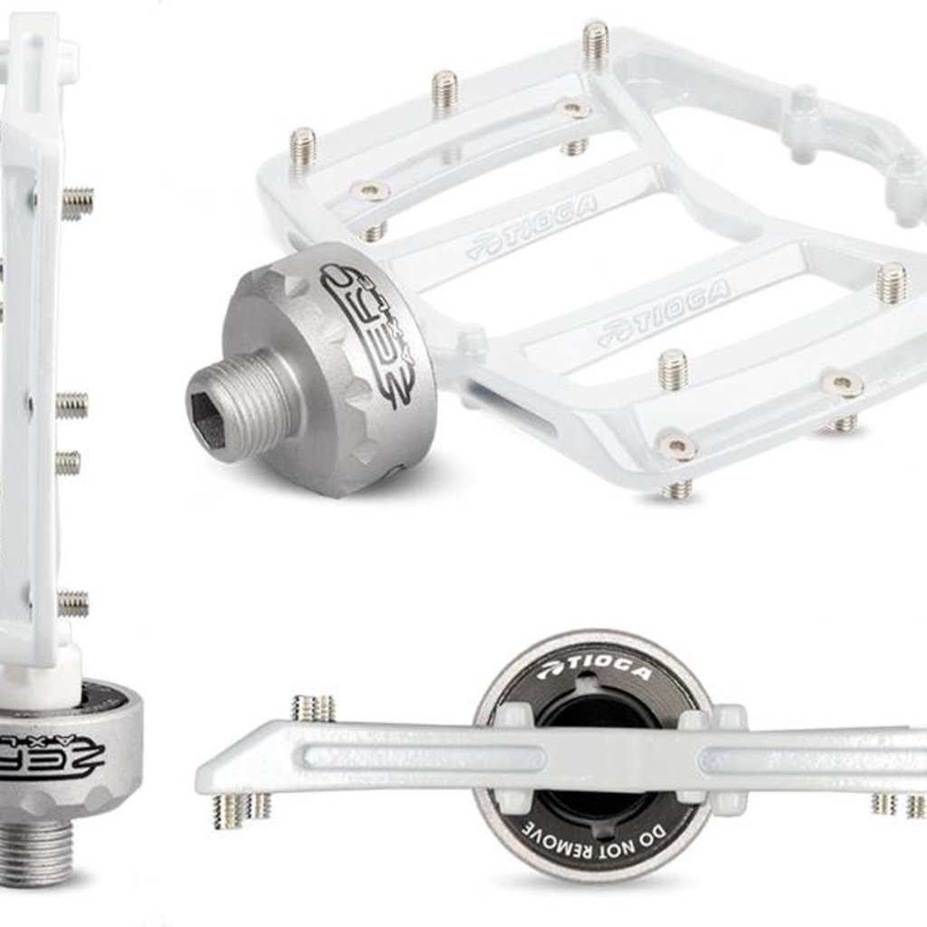 "Tioga MT-Zero Pedals, 9/16"" Chromoly Platform with ZEROaxle System White"