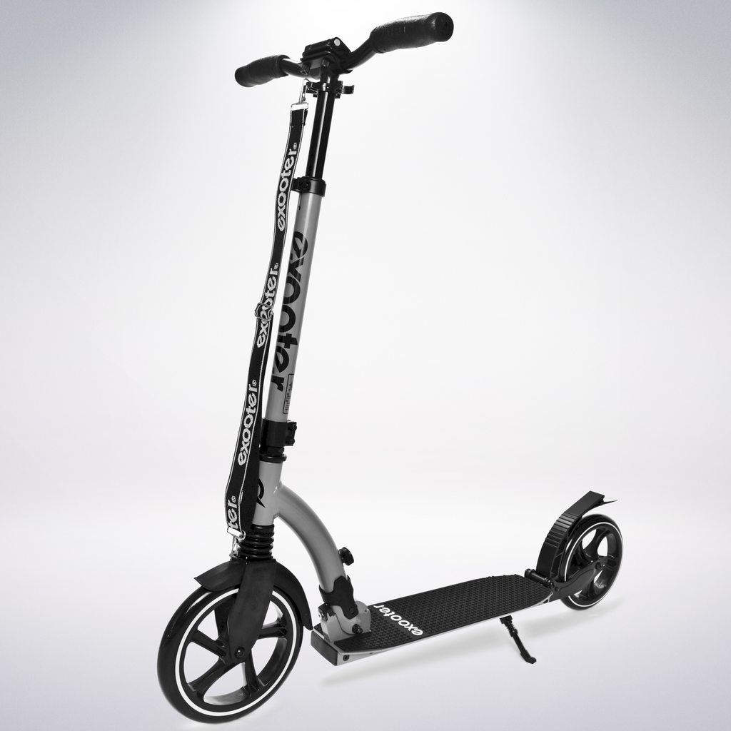 Exooter KICK SCOOTER EXOOTER M6 Adult w/ Dual Suspension Shocks, Big Wheels, Gray