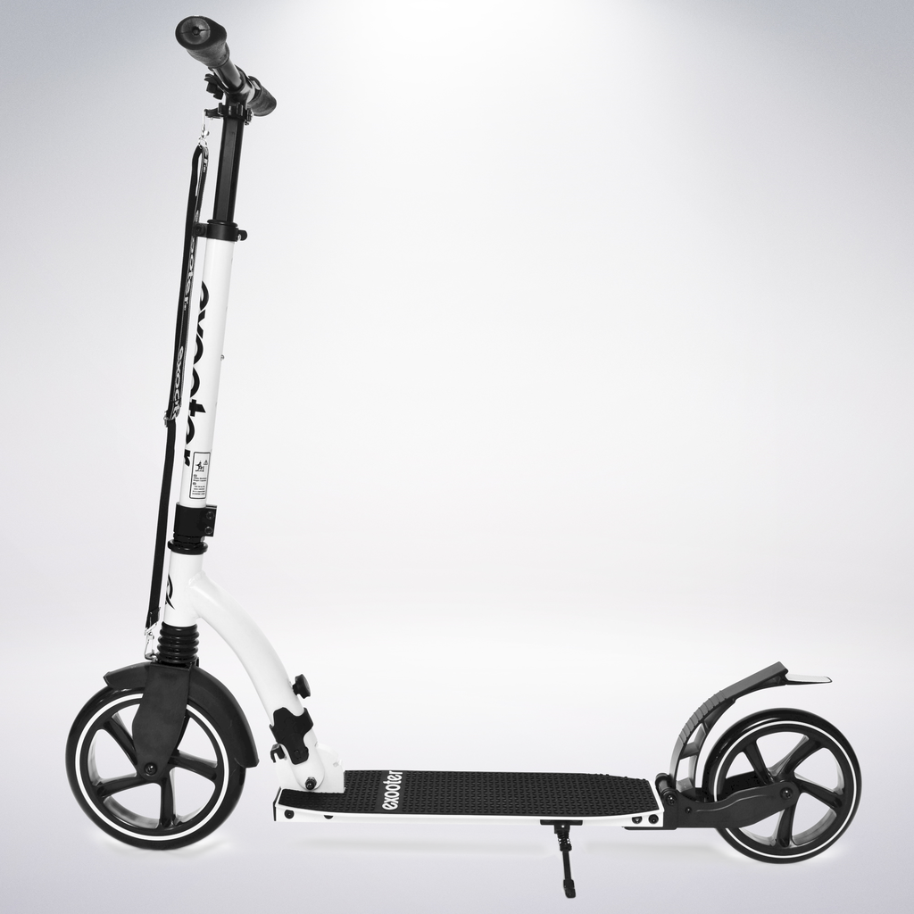 Exooter KICK SCOOTER EXOOTER M6 Adult w/ Dual Suspension Shocks, Big Wheels, White