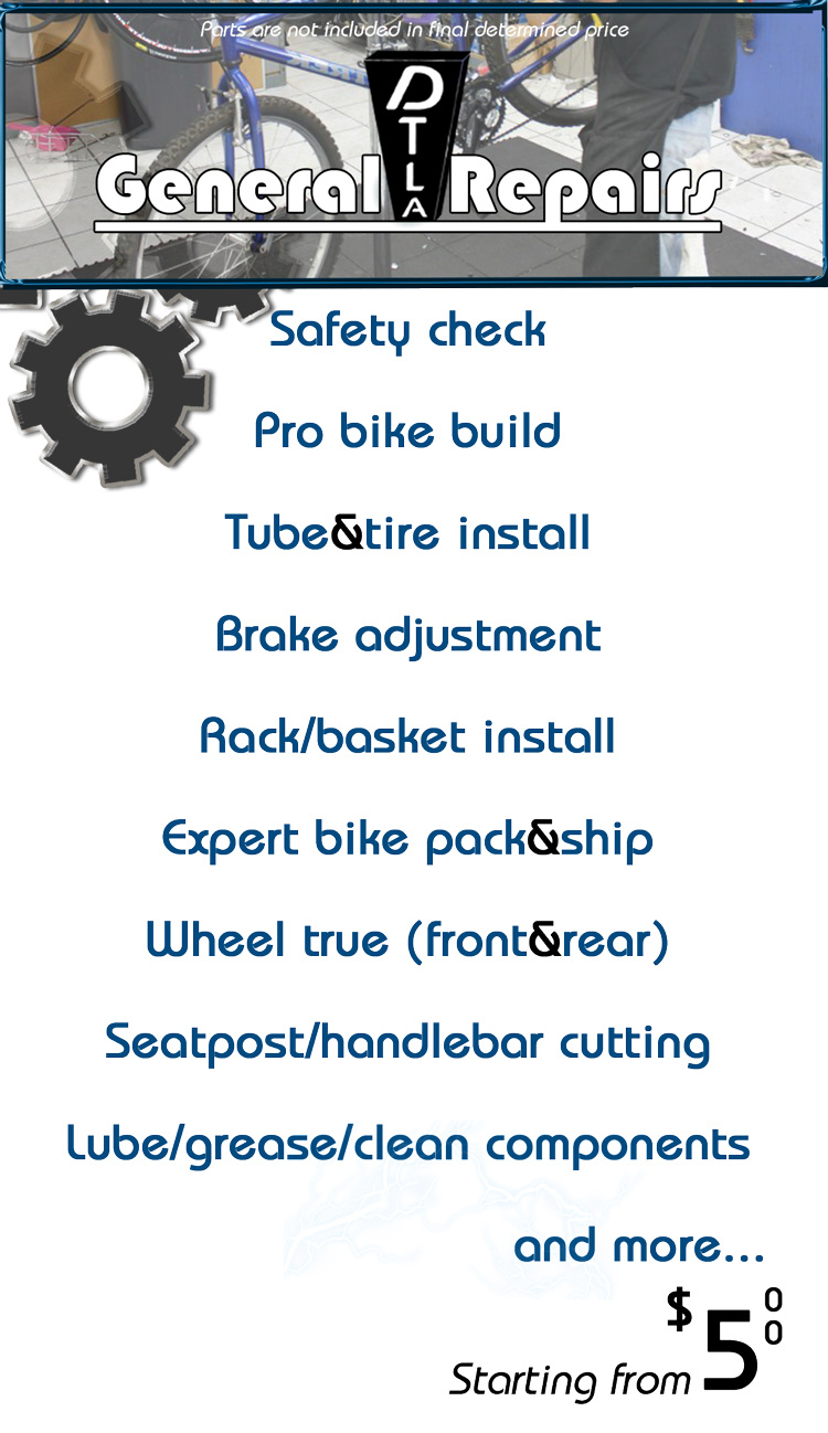 General day-to-day same day repairs. For more info 213-533-8000... if you're in doubt, bring the bike in.