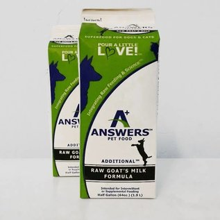 Answers Answers - Raw Goat Milk 1/2 Gallon