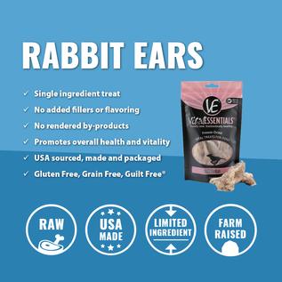 Vital Essentials Vital Essentials - Rabbit Ears Treats 6pcs