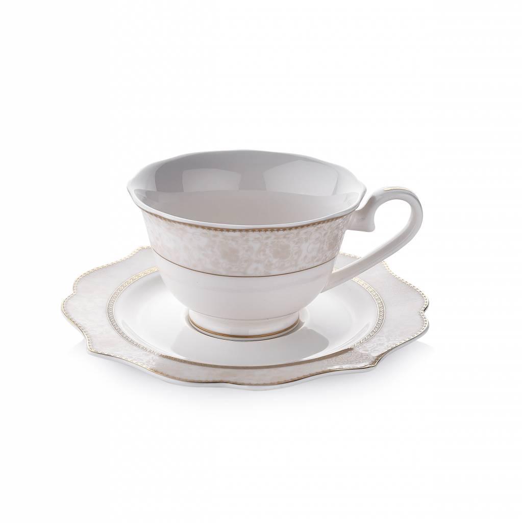 Dantella Tea Cup Set 12pcs Gold