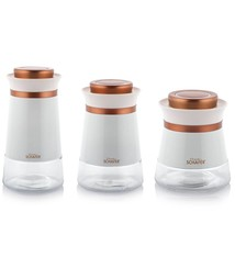 Kitchenhouse Jar Set Large Copper/White