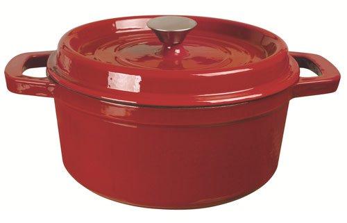 Clasica Round Cast Iron Casserole Red 3.5L 24cm