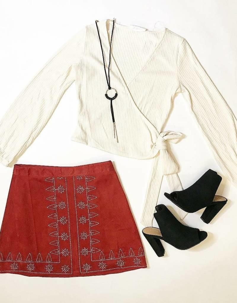Embroidered Red Suede Skirt