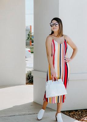 RD USA International Red Multi Striped Woven Dress