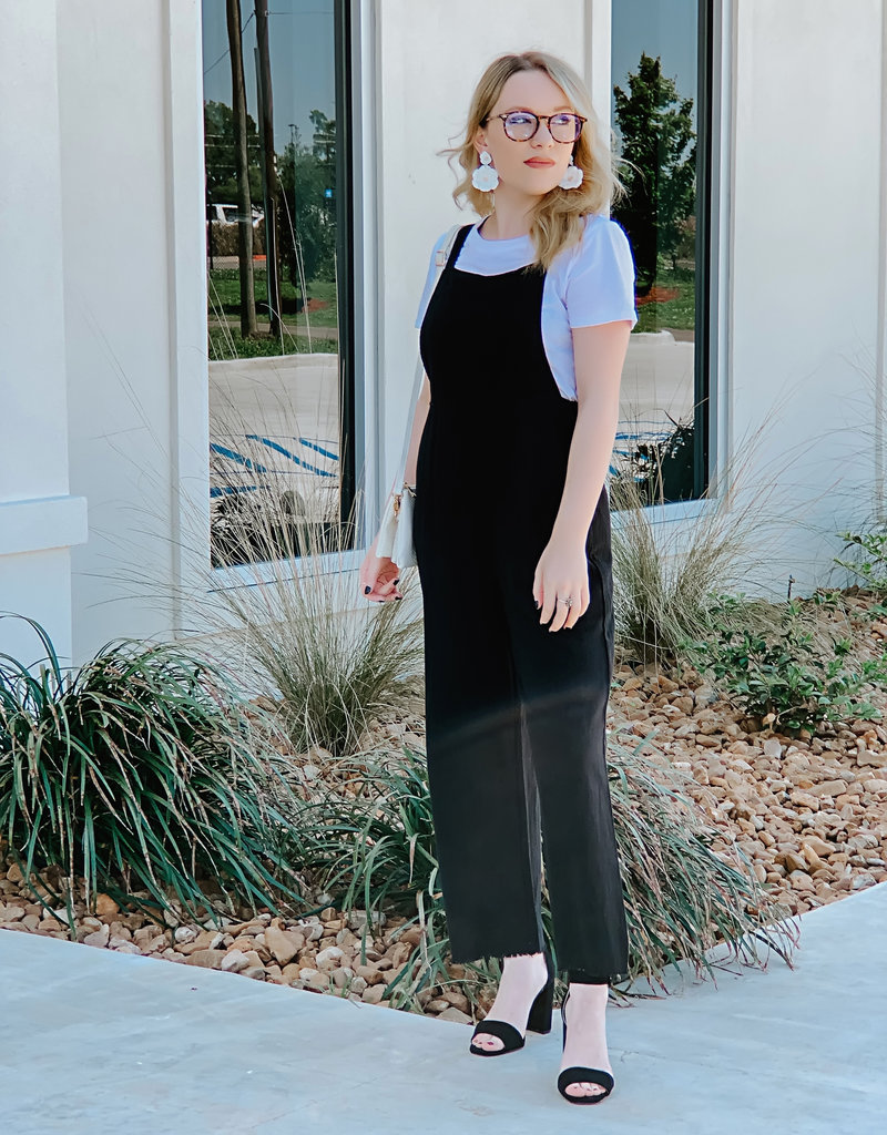 Black Overall Woven Jumpsuit