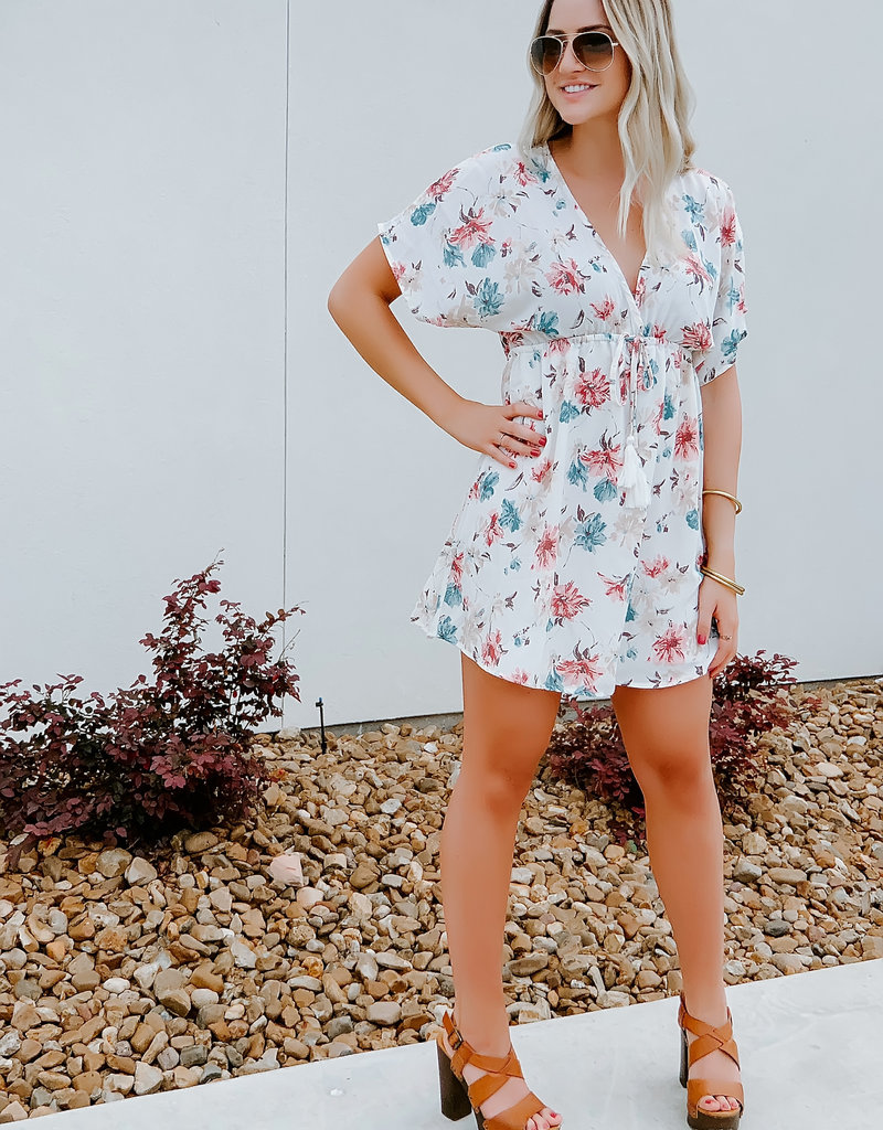Blues and Greys Floral Off White Dress