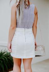 Parker Stretch Off White Mini Skirt
