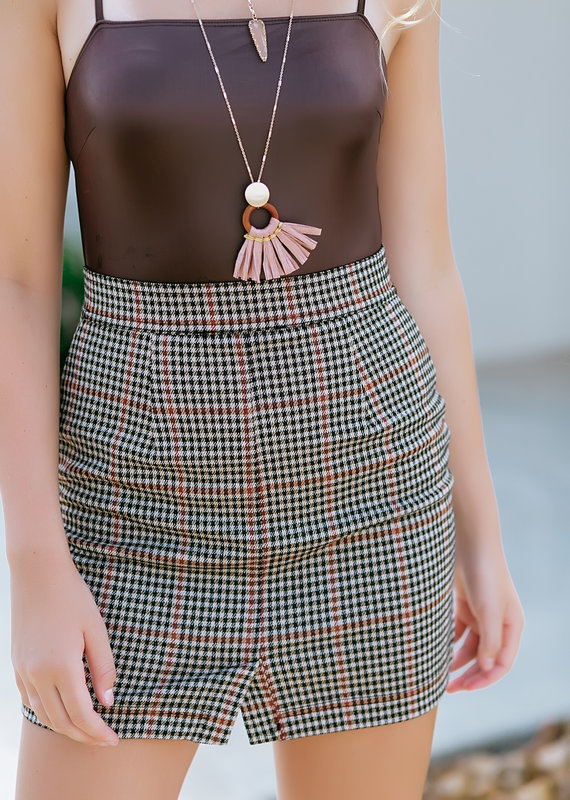 RD USA International Tan Plaid Skirt