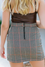 RD USA International Tan Plaid Skirt