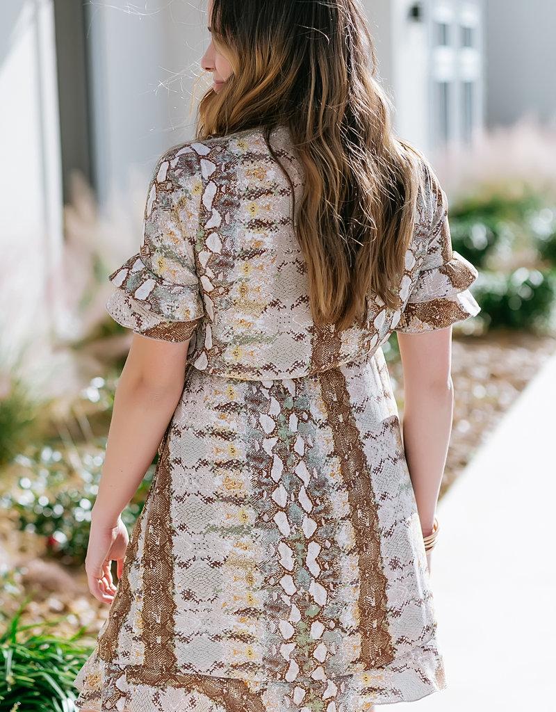 Dex Taupe/Snake Print S/SLV Wrap Dress