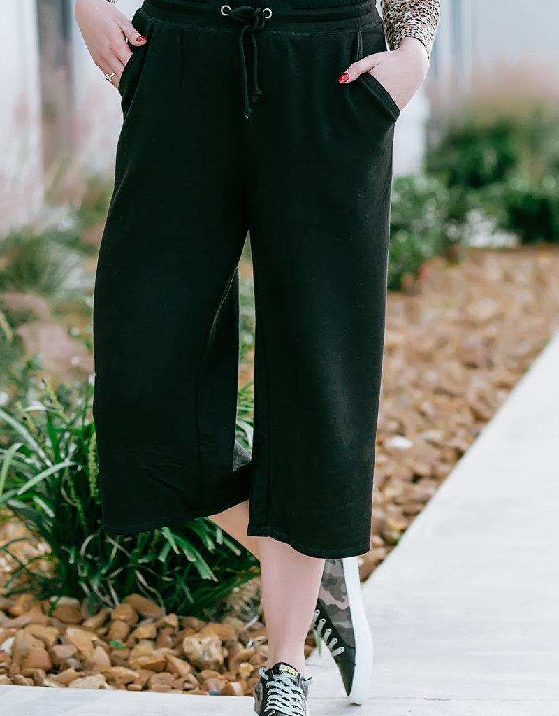Z Supply The Premium Fleece Crop Pant Black