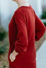 V-Neck Sweater Dress Brick