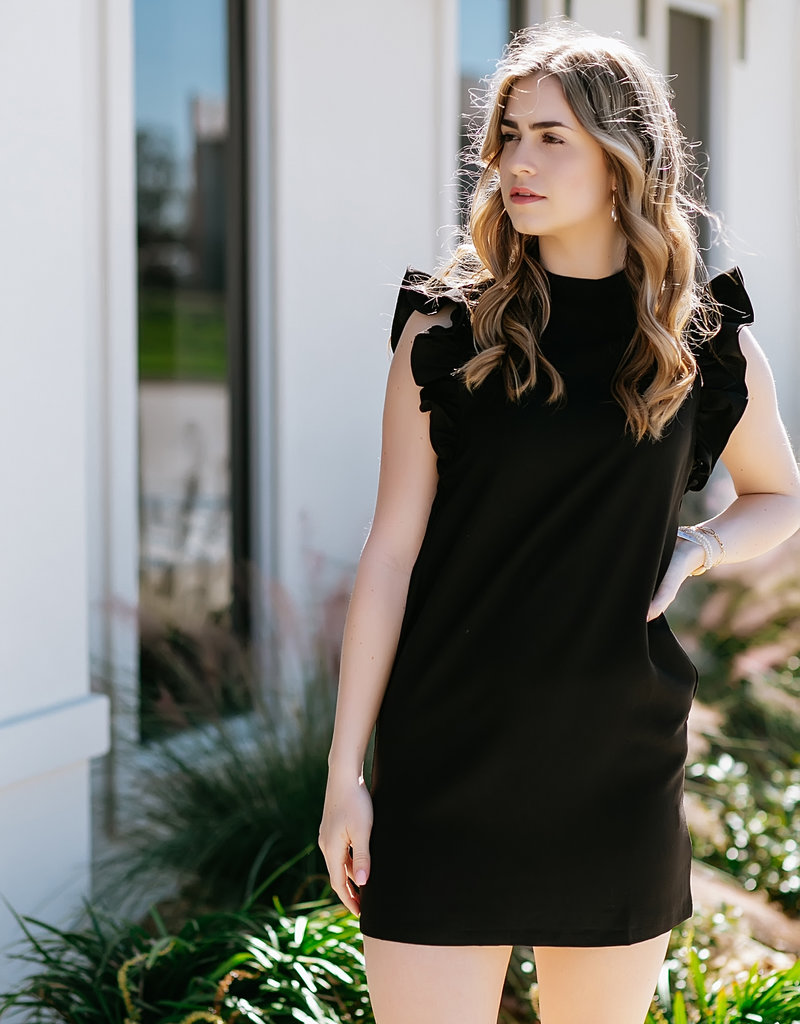 TCEC Black Ruffle Sleeve Dress