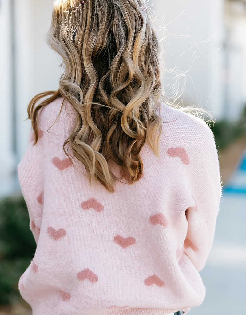 Heart Shape Boat Neck Sweater one size