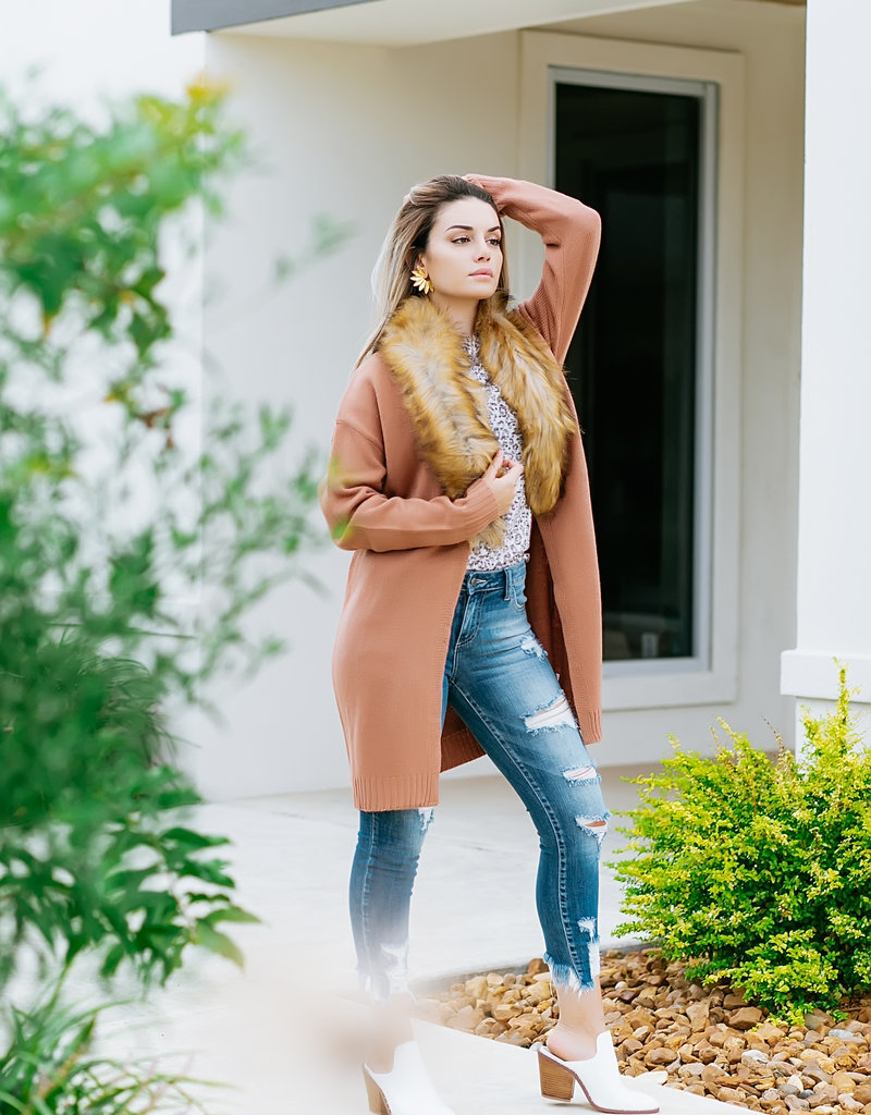 Mandy Mocha Cardigan w/fur collar