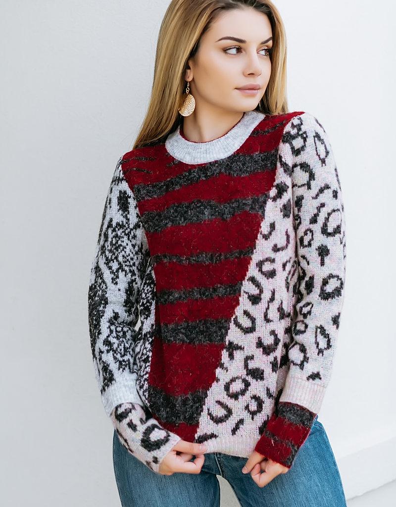 RD USA International Red Multi Pattern Mix Sweater