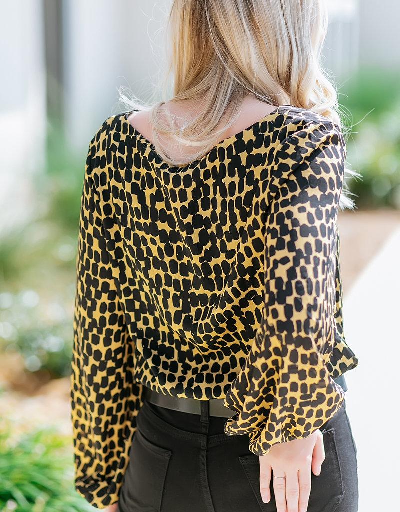 V-Neck Long Sleeve Bodysuit Blouse Black/Gold