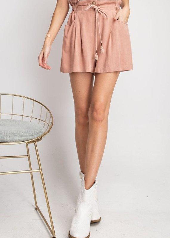 Mauve Ruffle Waist Hem Shorts