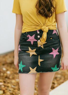 Charcoal Mardi Gras Denim Skirt